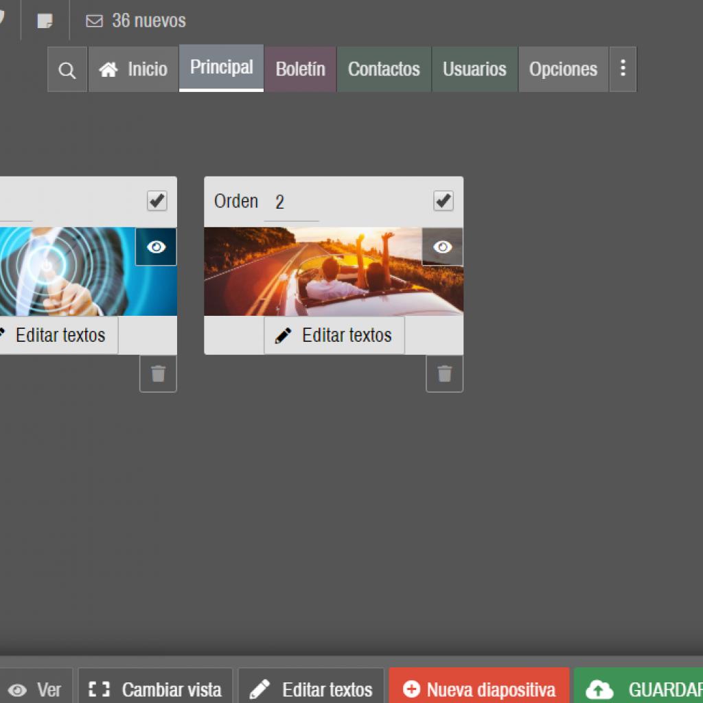 Un esquema visual de diapositivas permite gestionar presentaciones animadas de alto impacto. Textos personalizables con características de posicionamiento web SEO.