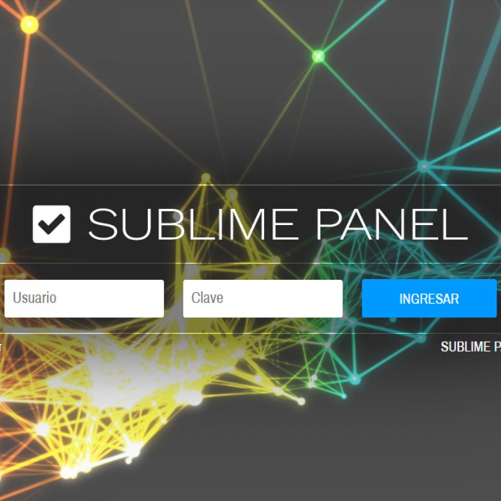 Login del gestor de proyectos y sitios web SUBLIME PANEL. Múltiples usuarios con permisos.