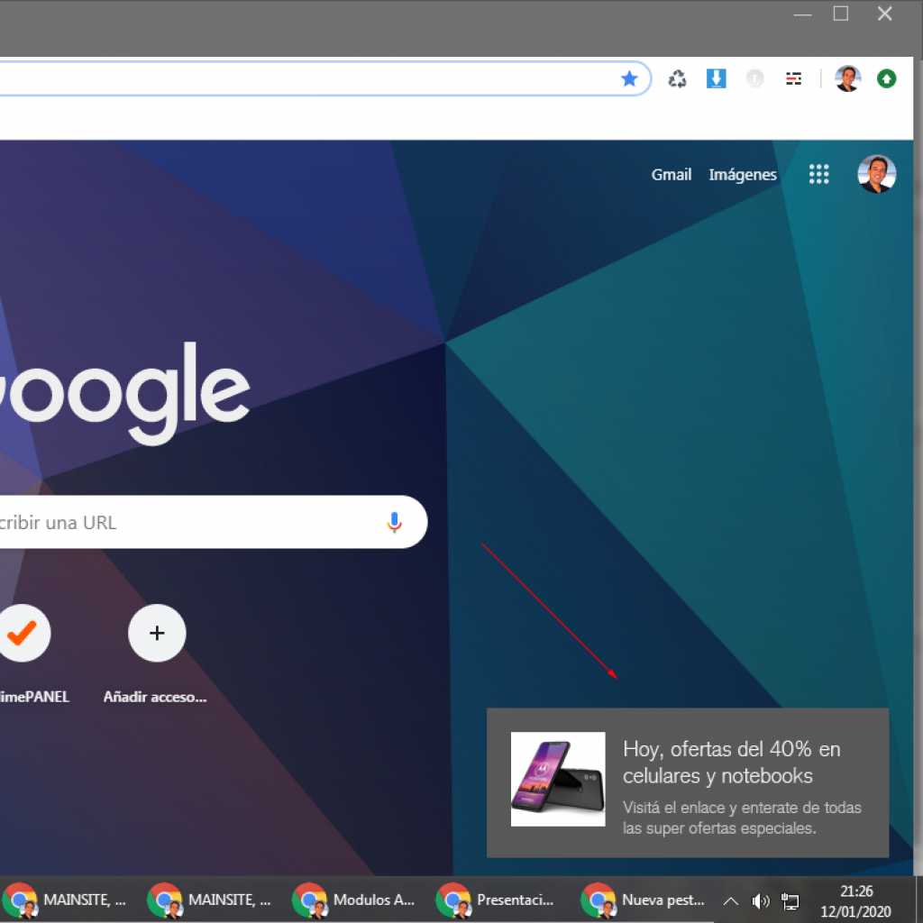Aspecto visual de las notificaciones de google chrome.