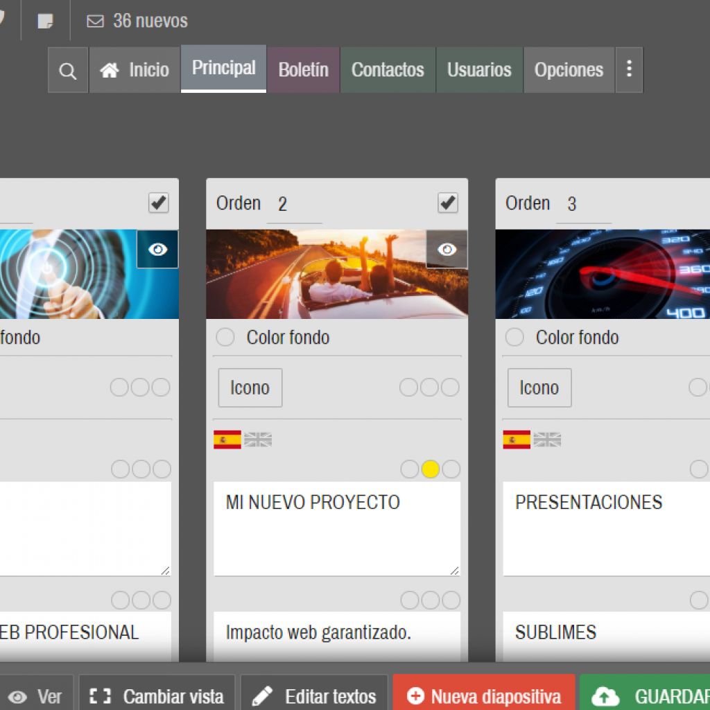 Opciones para formato y color de textos permiten personalizar el contenido.
